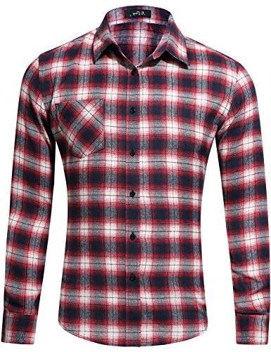 men s dress long sleeve flannel shirt