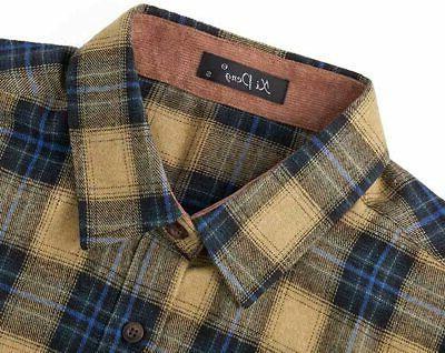 XI PENG Men's Dress Long Sleeve Flannel
