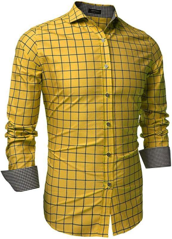 men s fashion long sleeve plaid button