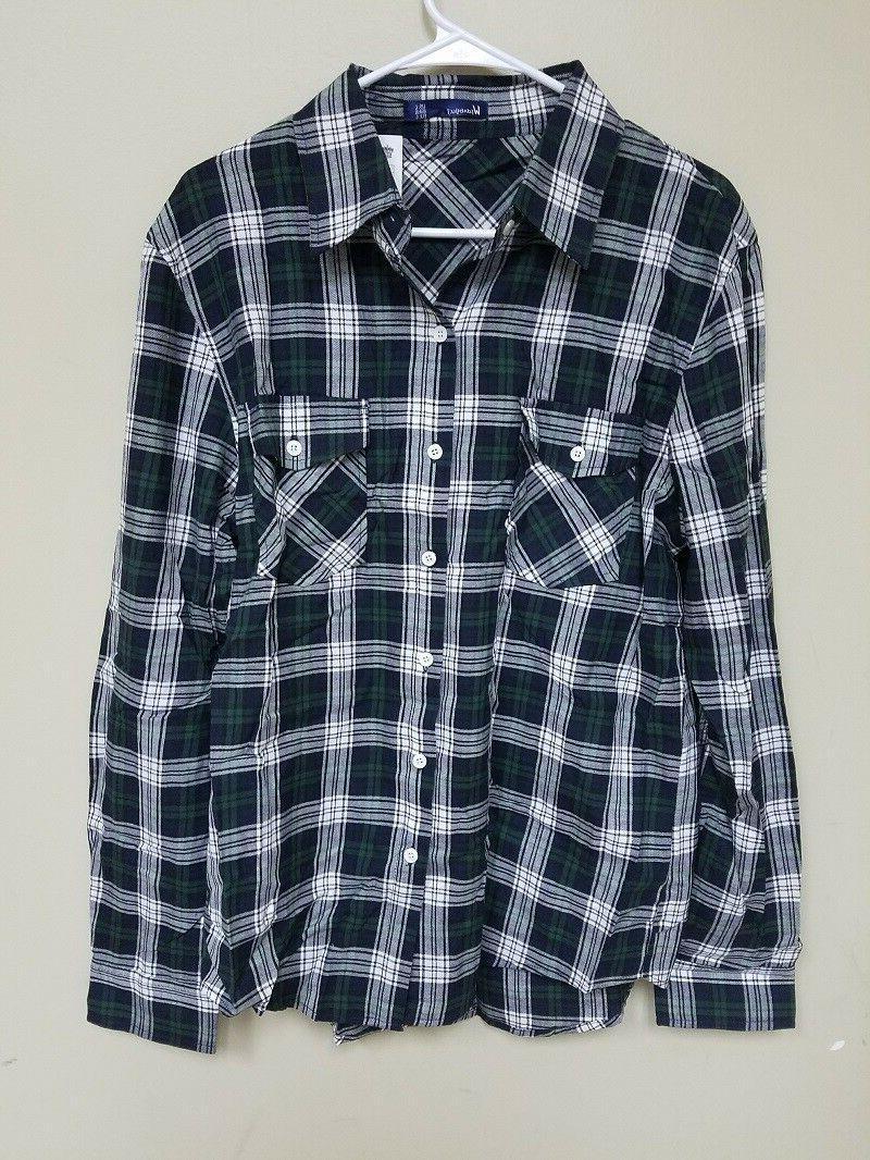Doublju Men's Flannel, Black/Green, Large