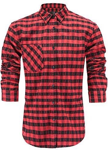 men s flannel cotton slim fit long