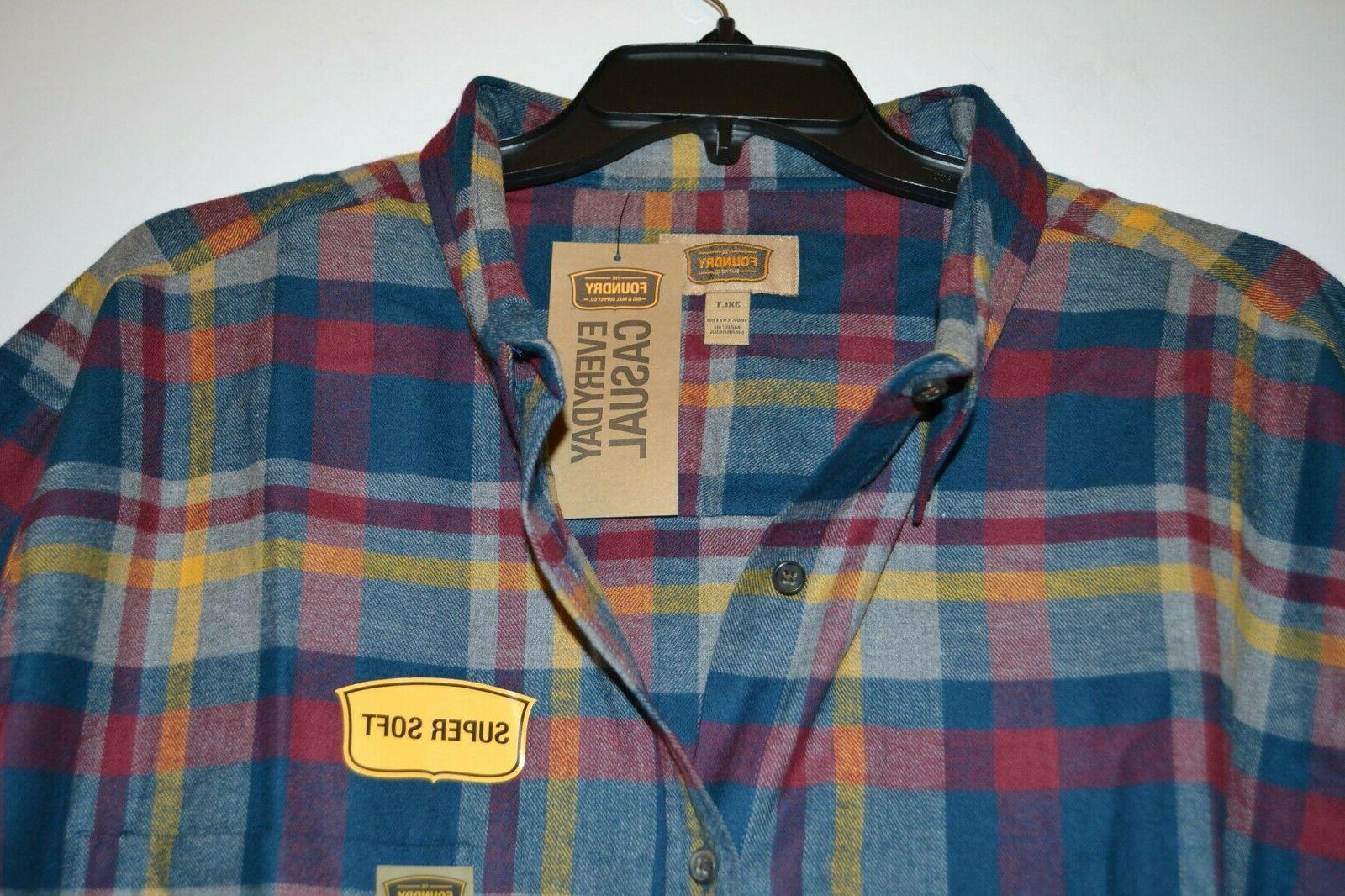 MEN'S FOUNDRY FLANNEL SHIRT AND SIZE: BLUE RED PLAID