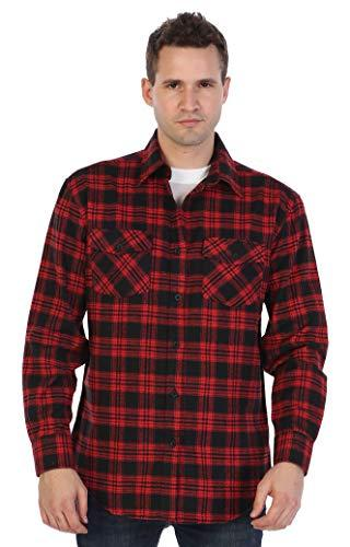 men s flannel shirt red black size