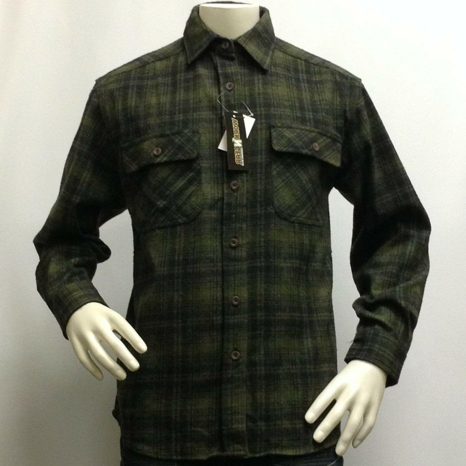 "Men's Flannel Shirt Very Heavy Jacket Size Gear"" &Olive"