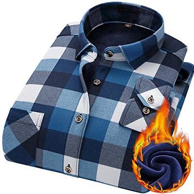 AOLIWEN Men's Lined Winter Warmth Flannel Long Sleeve