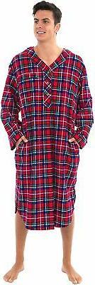 Alexander Del Rossa Men's Lightweight Flannel Sleep Shirt, L