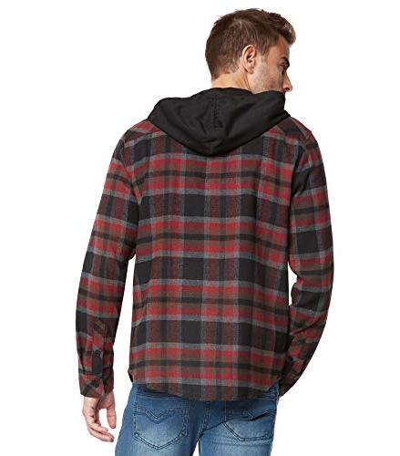 9 Hoodie Flannel Shirt-Black/Burg-M