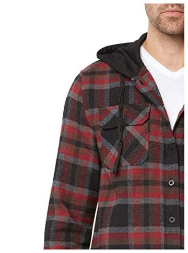 9 Crowns Men's Hoodie Plaid Shirt-Black/Burg-M