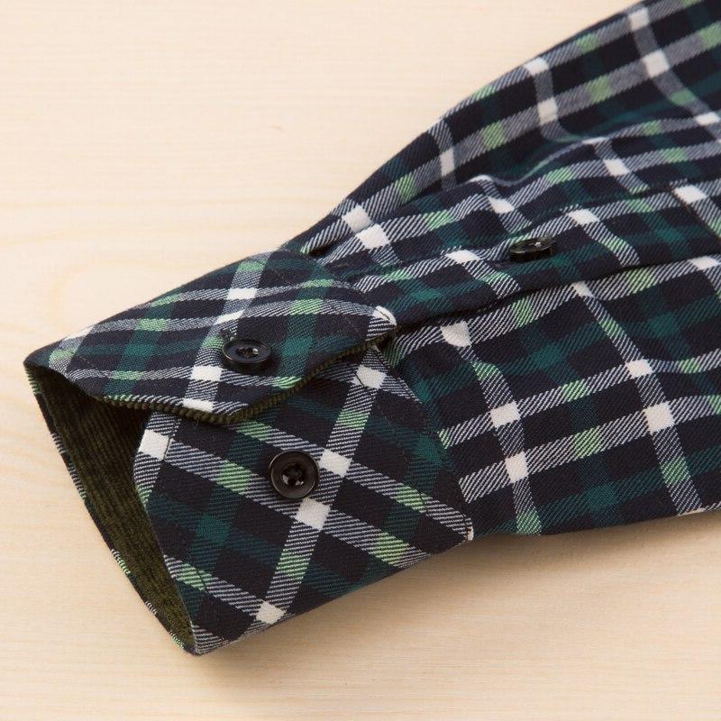 Men's Long Plaid Dress <font><b>Shirt</b></font> Patch Casual Tops <font><b>Shirts</b></font>