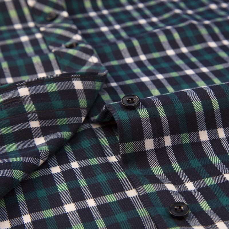 Men's Sleeve Brushed Plaid Patch <font><b>Work</b></font> Casual Tops