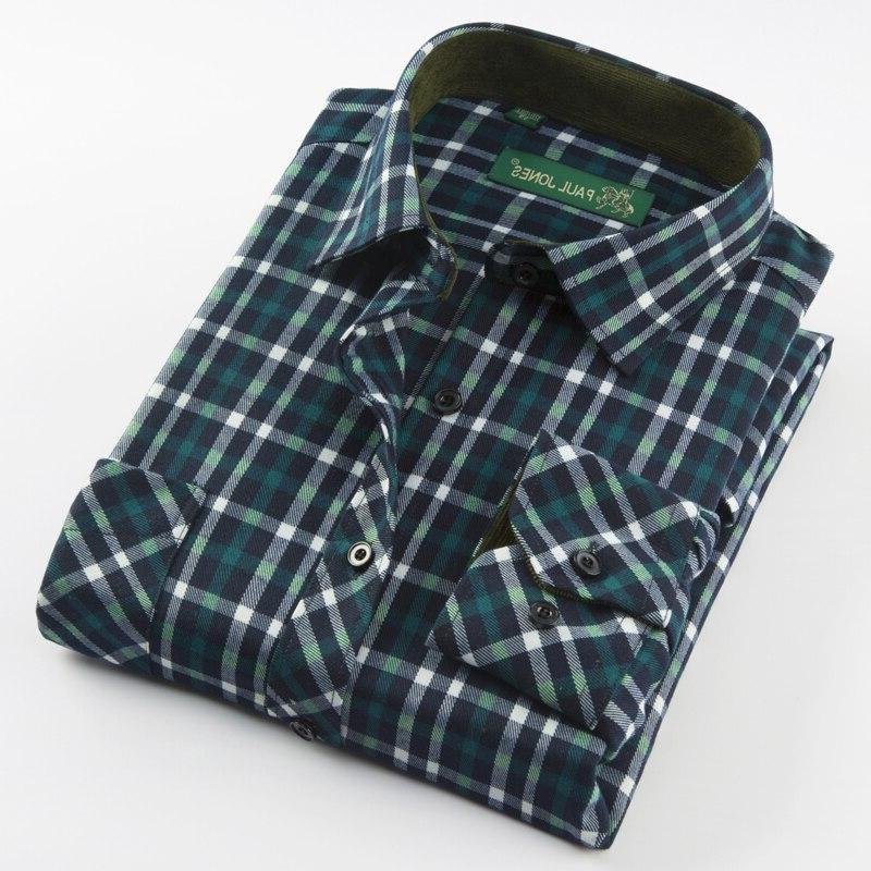 Men's Sleeve Plaid Dress Single Patch Pocket Comfortable Casual Regular-fit Checked Tops
