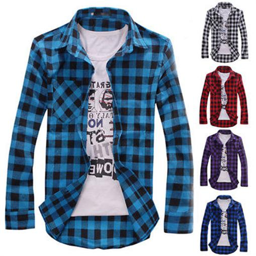 Men's Long Sleeve Casual Check Print Cotton Flannel Plaid Sh