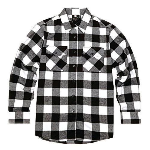 men s long sleeve flannel plaid button
