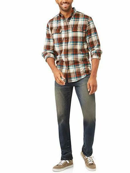 George Men's Sleeve Flannel Shirt Bark - 46-48