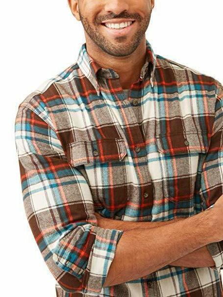 George Men's Long Flannel Shirt - Bark 46-48