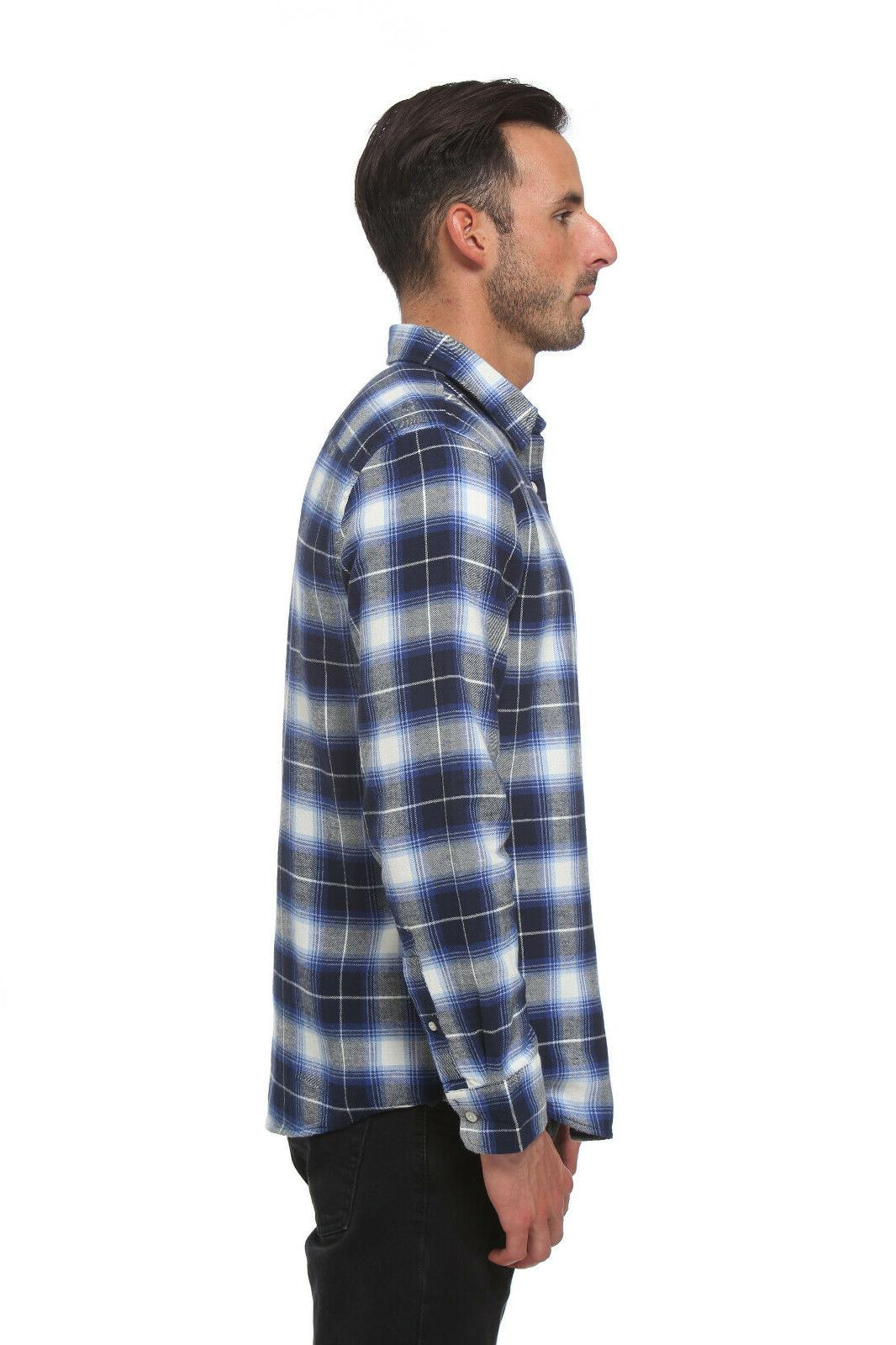 Elevani Sleeve Regular Fit Flannel Casual White/Navy
