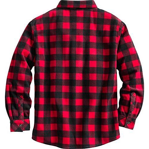 Legendary Men's Fleece Button Up Shell Red Plaid Tall