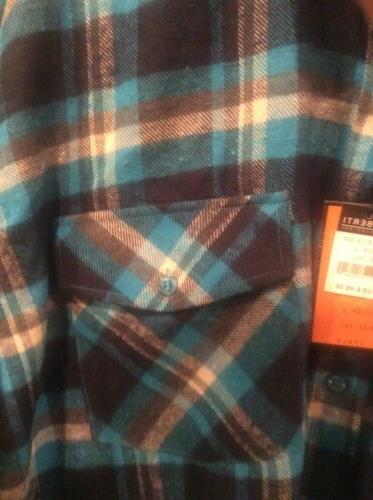 Men's NWT Gioberti Blue Plaid Front Cotton Shirt