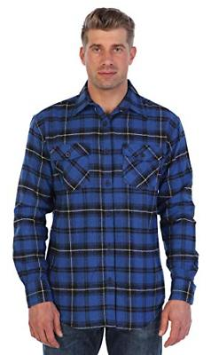men s plaid checkered brushed flannel shirt