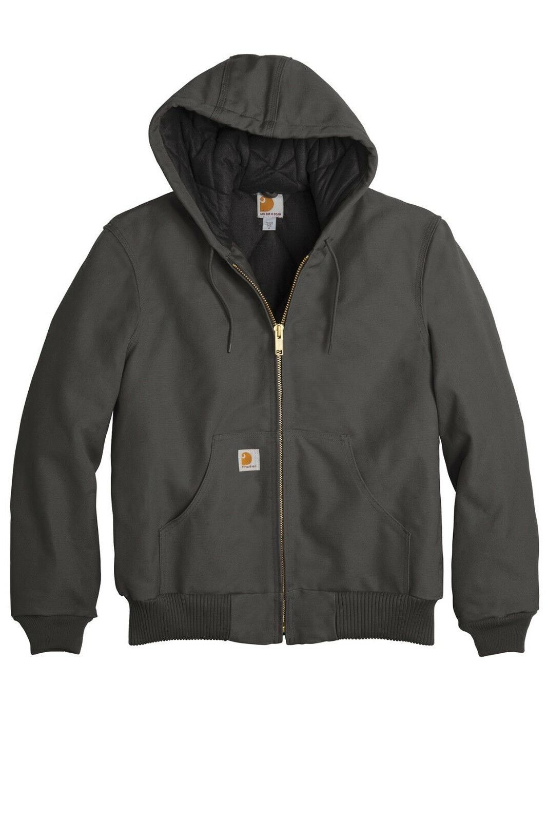 Carhartt Quilted Flannel Lined Duck Active JACKET, Hooded, Big & Mens J140