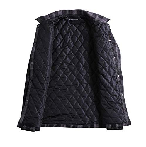 Zenthace Quilted Button Down Plaid Shirt Jacket Grey/Black/Purple XL