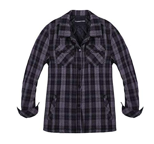 men s quilted lined button down plaid