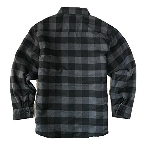 YAGO Men's Quilted Lined Long Sleeve Flannel Button Shirt YG2611