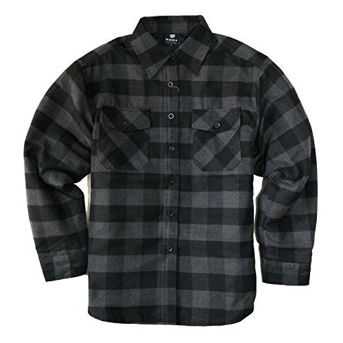 men s quilted lined long sleeve flannel