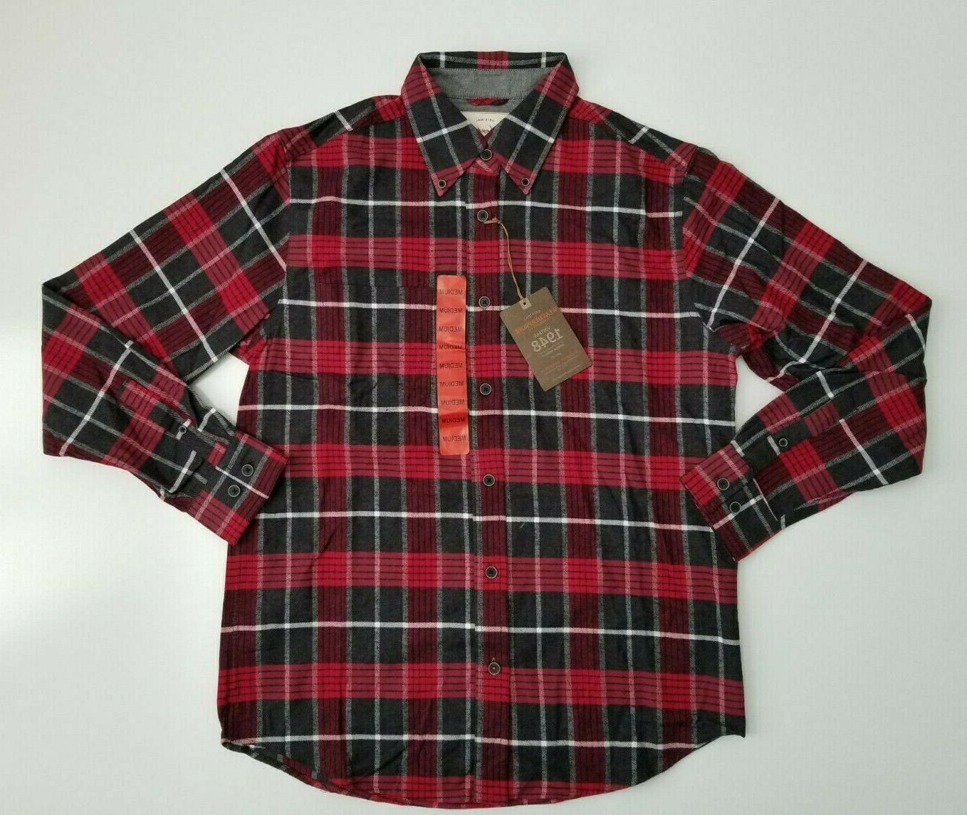 men s red flannel shirt size medium