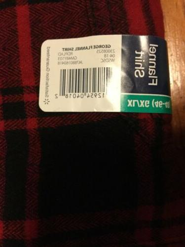 George Men's Red Flannel Size Button Cotton