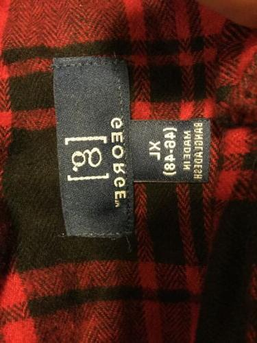 George Men's Plaid Flannel Size Button Front