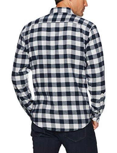 Amazon Long-Sleeve Flannel Navy Plaid, Medium