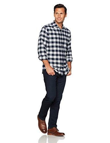 Amazon Men's Regular-Fit Long-Sleeve Plaid Navy Medium
