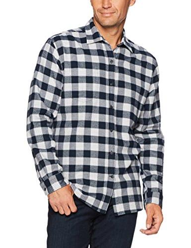 Amazon Men's Long-Sleeve Flannel Navy