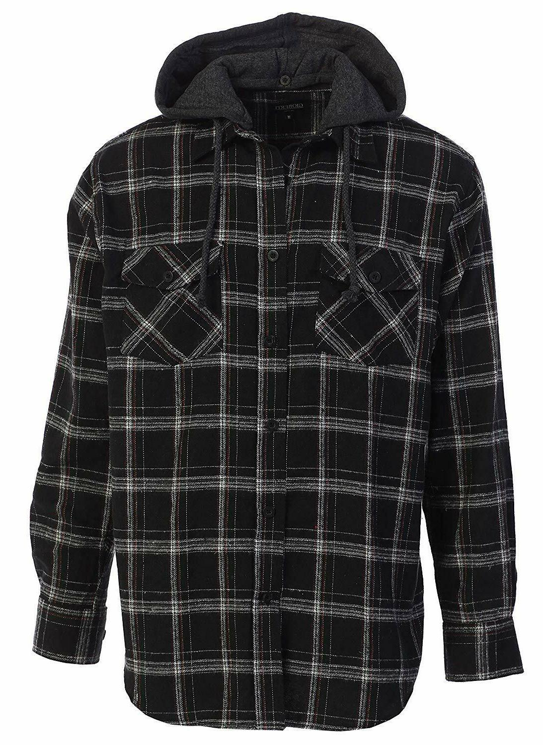 men s removable hoodie plaid checkered flannel
