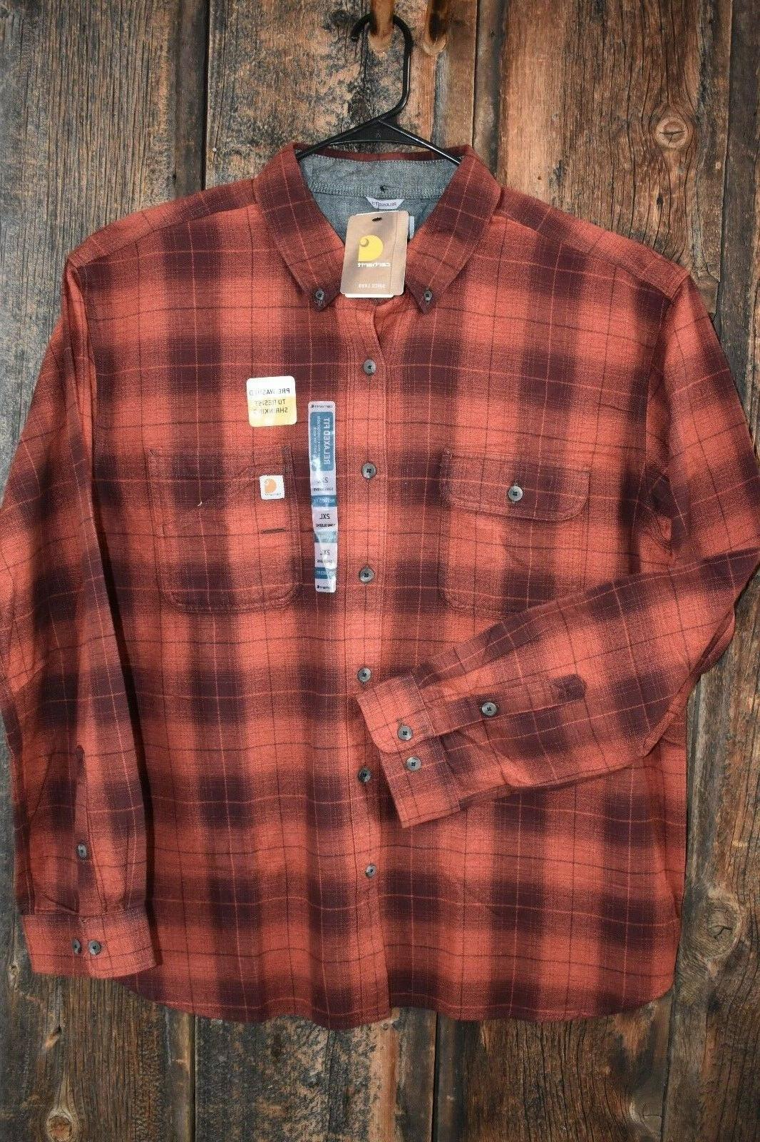 Carhartt men's rust flannel plaid relaxed fit long sleeve sh