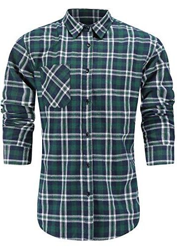 men s slim fit casual flannel cotton
