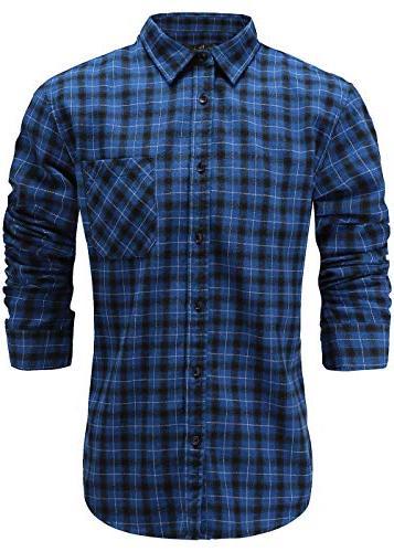 men s slim fit flannel cotton casual