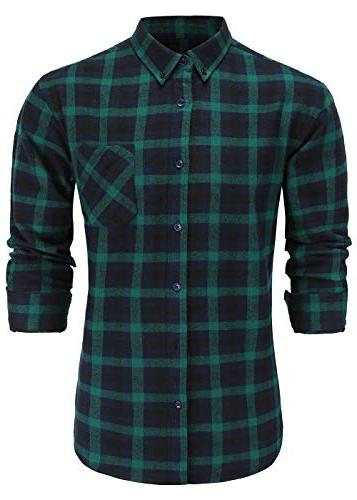 men s slim fit flannel cotton long