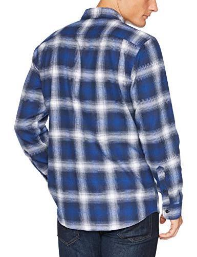 Amazon Essentials Long-Sleeve Plaid Flannel Shirt, Blue X-Small