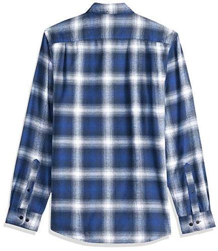 Amazon Essentials Men's Long-Sleeve Plaid Flannel Shirt, Blue Ombre,