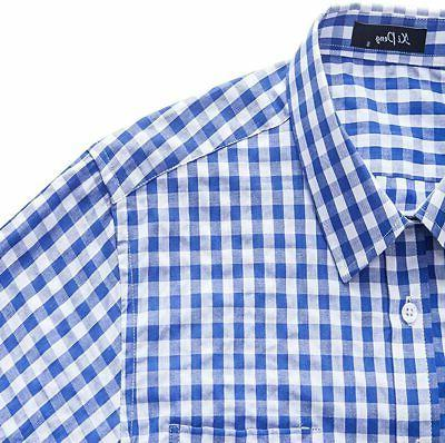 XI PENG Men's Fit Plaid Long Dress Shirts