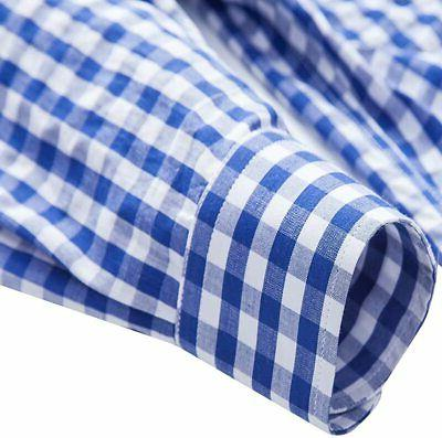 XI Men's Fit Plaid Gingham Long Sleeve