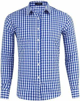 men s slim fit plaid checkered gingham
