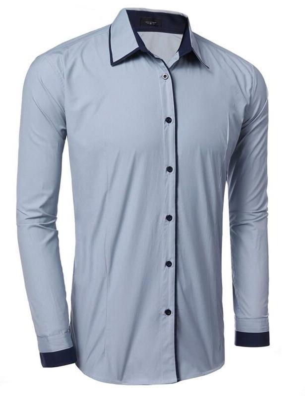 JINIDU Men's Slim Striped Banded Dress Shirt Casual Butto