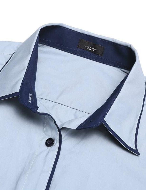 JINIDU Men's Slim Striped Collar Dress Shirt Casual Long Butto
