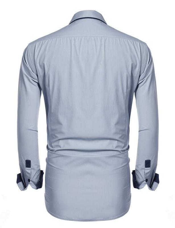 JINIDU Men's Slim Striped Dress Butto