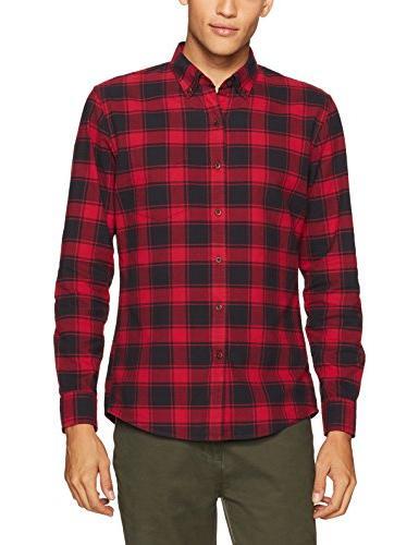 Goodthreads Men's Standard-Fit Plaid Shirt, Chili, Medium