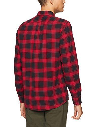 Goodthreads Plaid Oxford Shirt, Chili, Medium