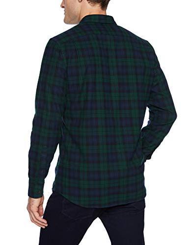 Goodthreads Men's Long-Sleeve Brushed Flannel Navy Black Plaid, Large